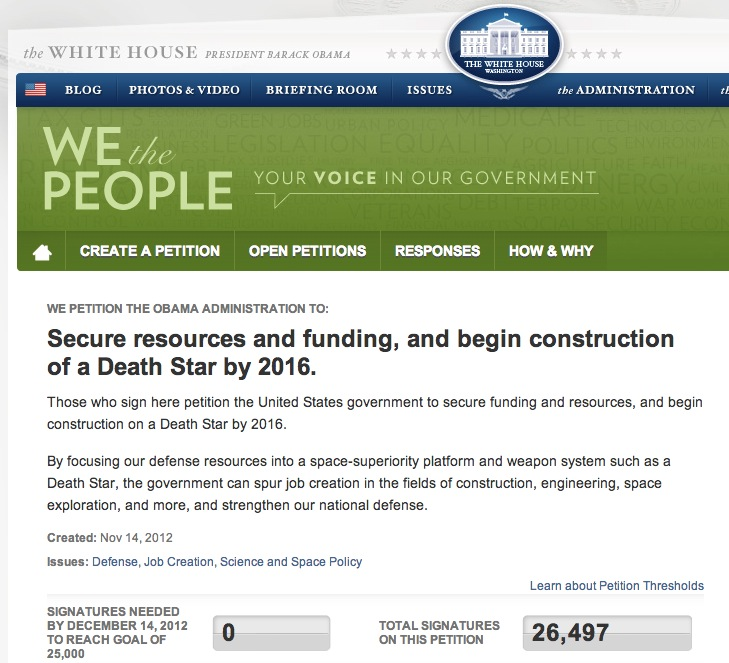 white house petition website