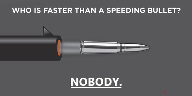 "Bloomberg Anti-Gun Group Everytown for Gun Safety Posts 'Speeding Bullet' Image Photo Picture Pic with One Glaring Error Major Mistake Epic Fail Failure Screw-up shell casing former Mayor Michael Bloomberg ""Who is faster than a speeding bullet? Nobody"" End Gun Violence campaign anti-NRA against gun rights $50 million launch New York anti-Second Amendment National Rifle Association"
