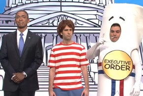 SNL Saturday Night Live sketch mocks President Obama explains how a bill become a law executive order action authority immigration reform amnesty illegal immigrants aliens sign funny Jay Pharoah Kenan Thompson Bobby Moynihan